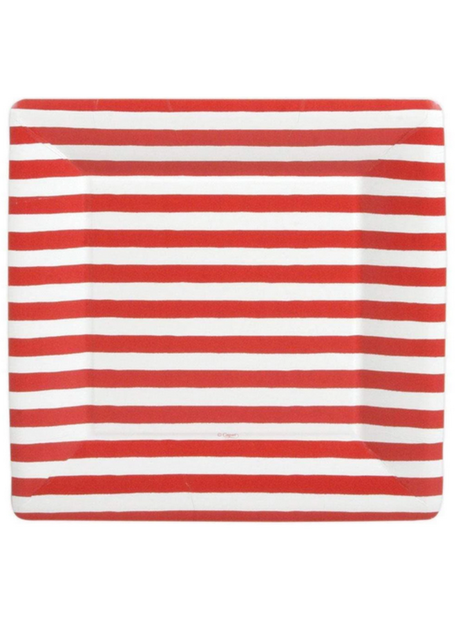 Dinner Plate - Red & White Stripe