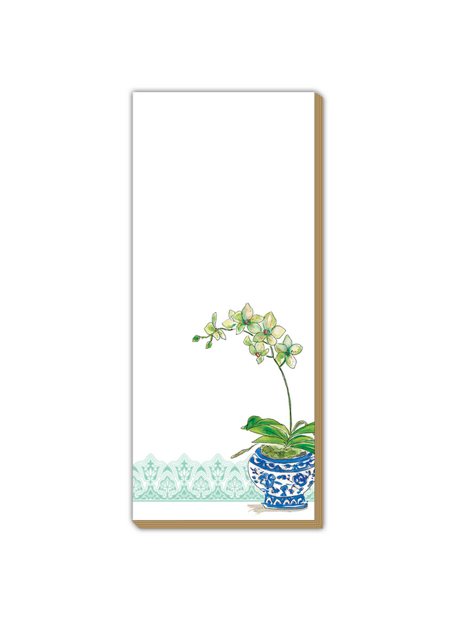 Luxe Skinny Pad - Teal Potted Orchid