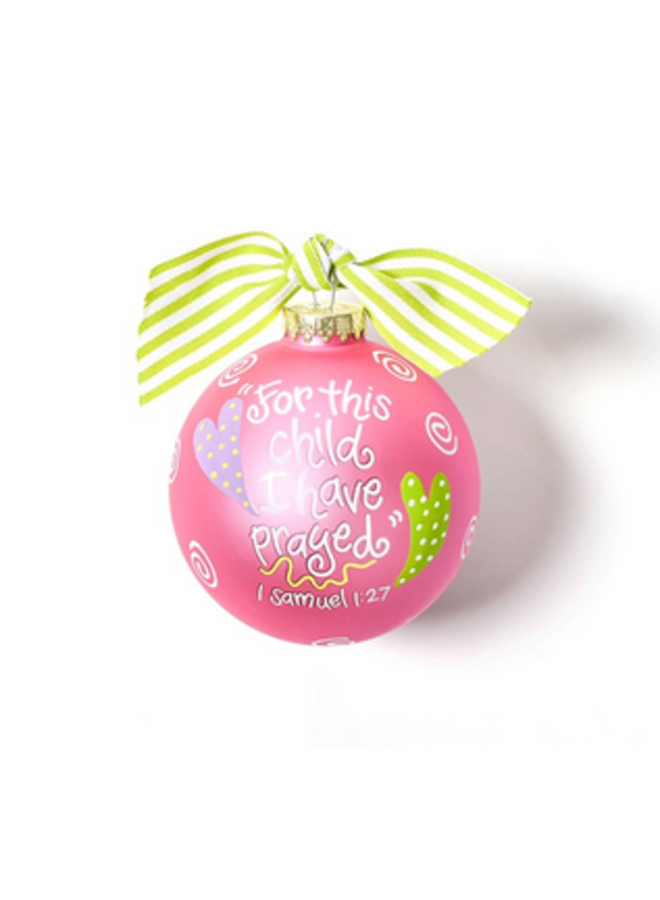 For This Child Pink Glass Ornament