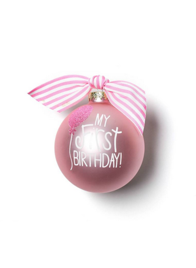 My First Birthday Pink Glass Ornament