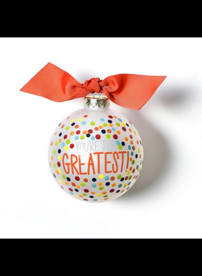 Greatest Bright Confetti Glass Ornament