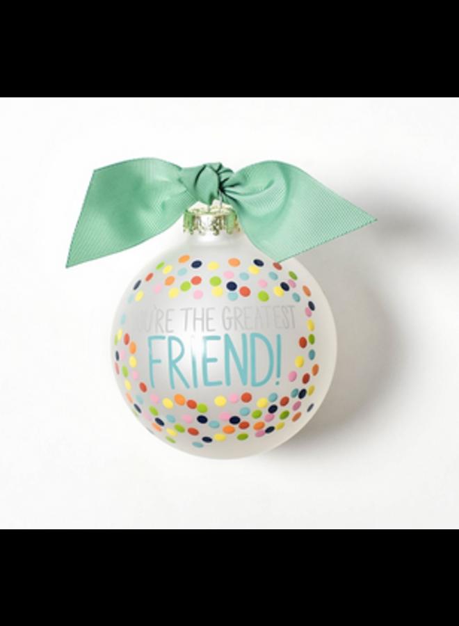 Greatest Friend Bright Confetti Glass Ornament