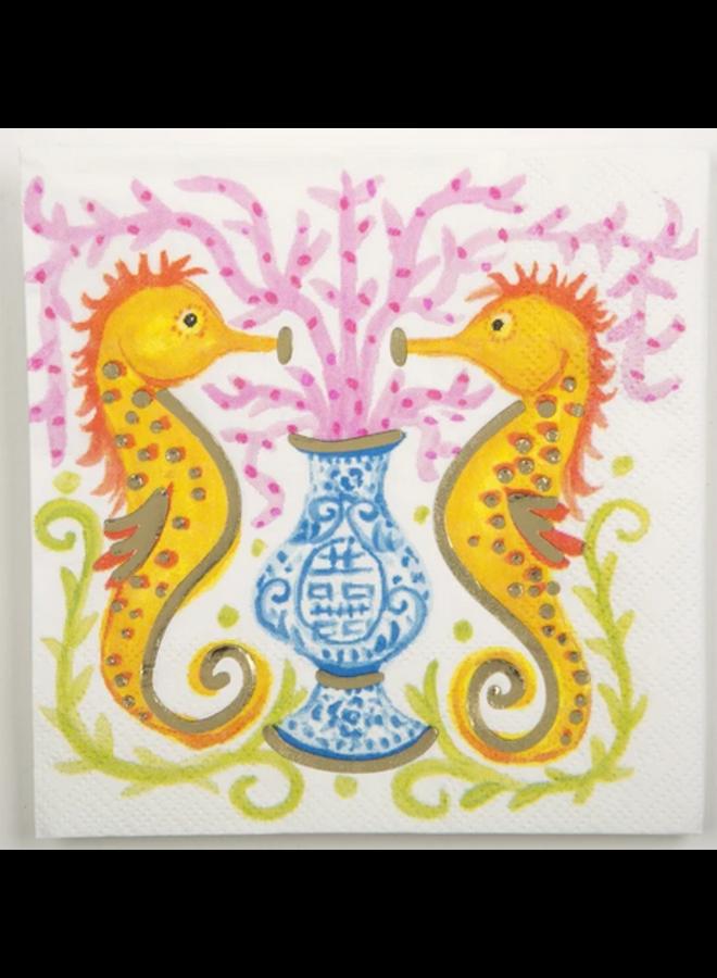Cocktail Napkin - Seahorse