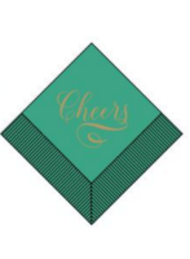 Boxed Cocktail Napkins - Gold Cheers on Teal
