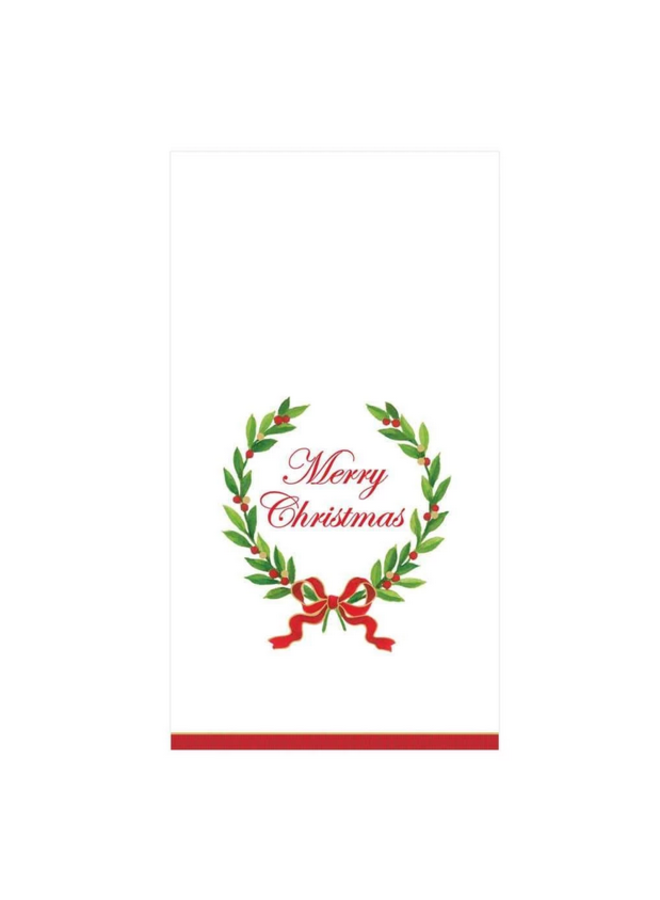 Guest Towel - Merry Christmas Laurel Wreath