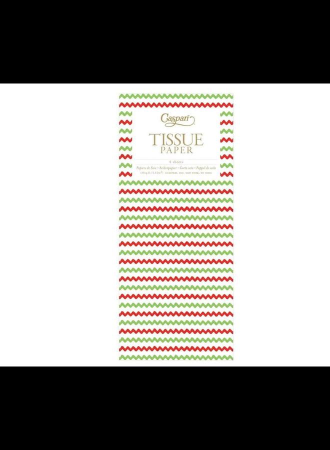Tissue Paper - Rickrack Red & Green