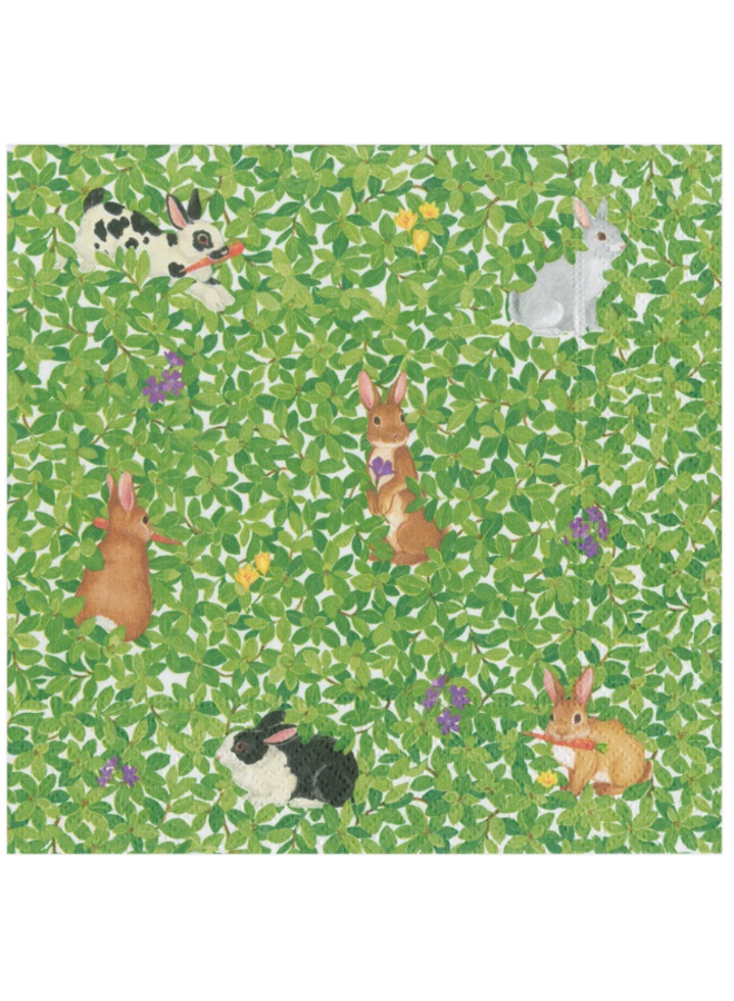 Luncheon Napkin - Bunnies & Boxwood