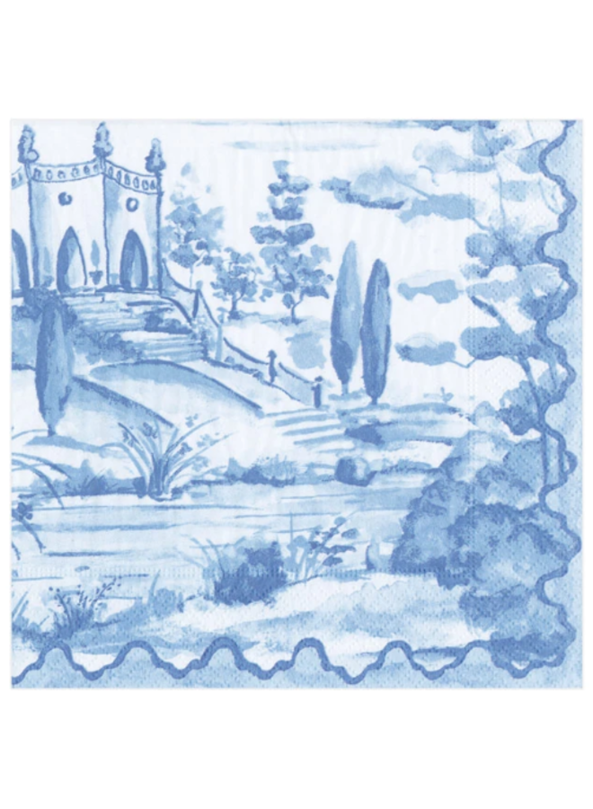 Cocktail Napkin - Tuscan Toile Blue