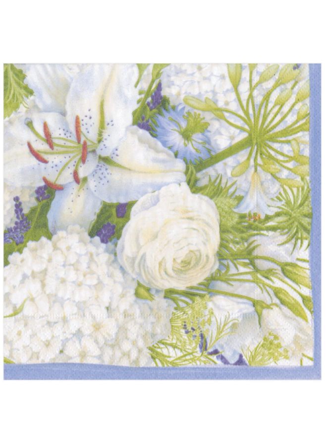 Luncheon Napkin - White Blooms