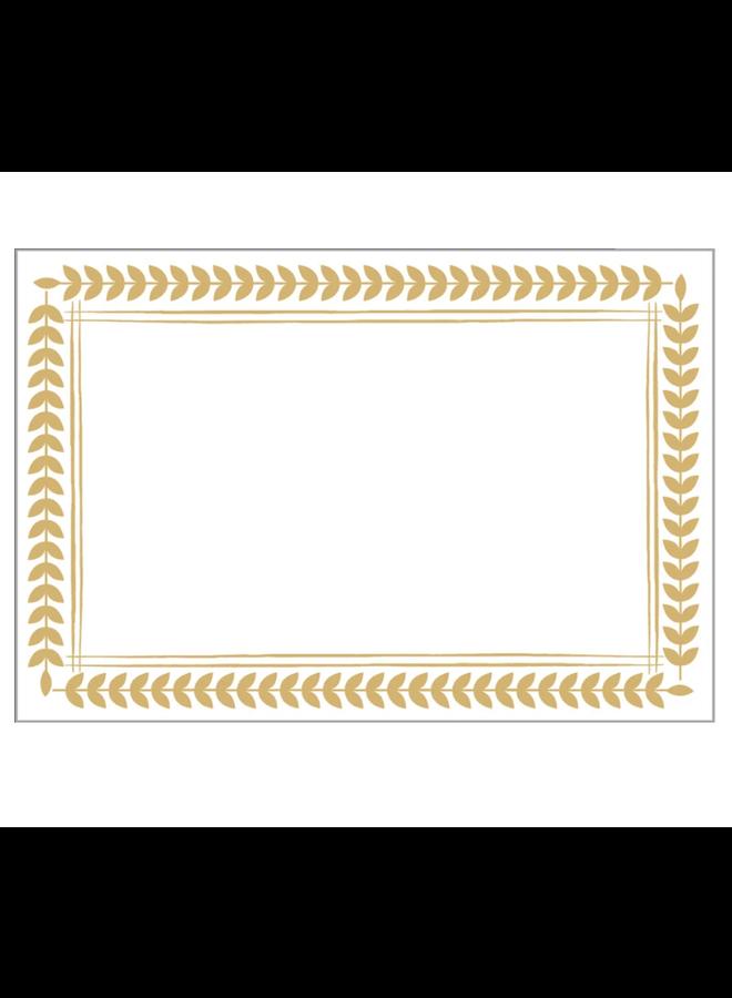 Place Cards - Leaf Border Gold