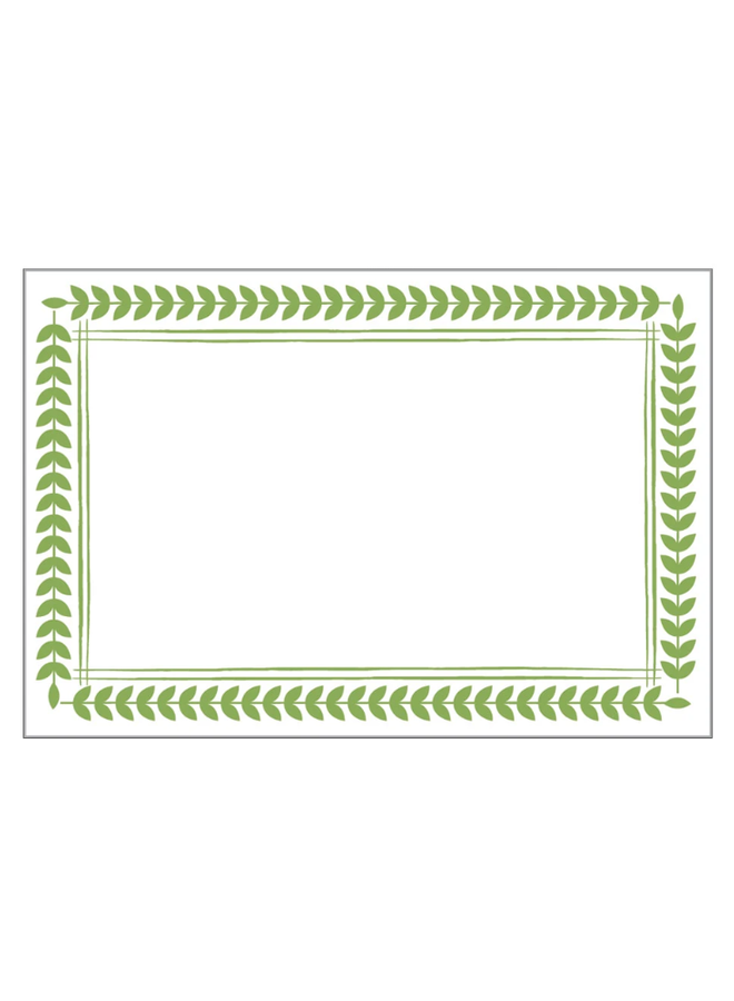 Place Cards - Leaf Border Green