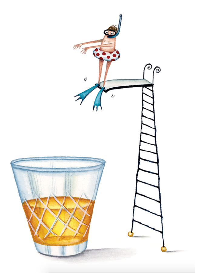 Greeting Card - Diving Into Scotch