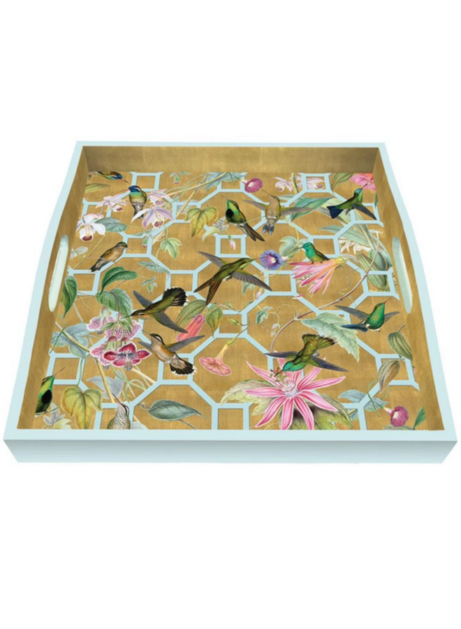 Lacquer Square Tray - Hummingbird Trellis Gold
