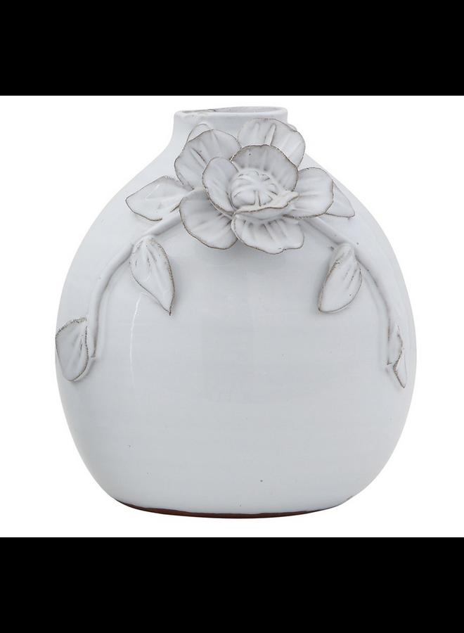 """White Terracotta Vase w/ Flower 6.5""""x7"""""""