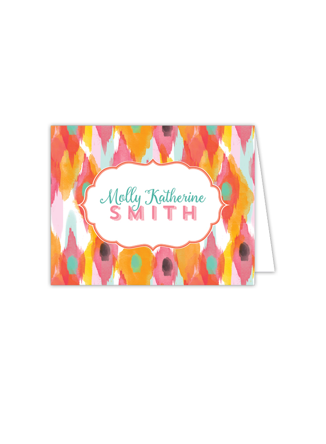 Folded Note - Pink/Orange Ikat
