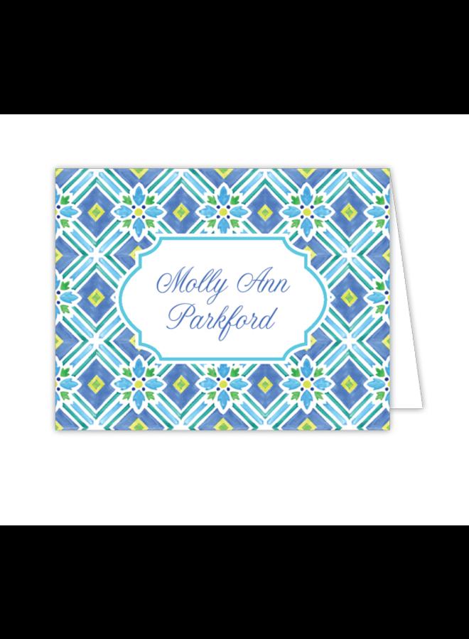 Folded Note - Tiles Blue & Green