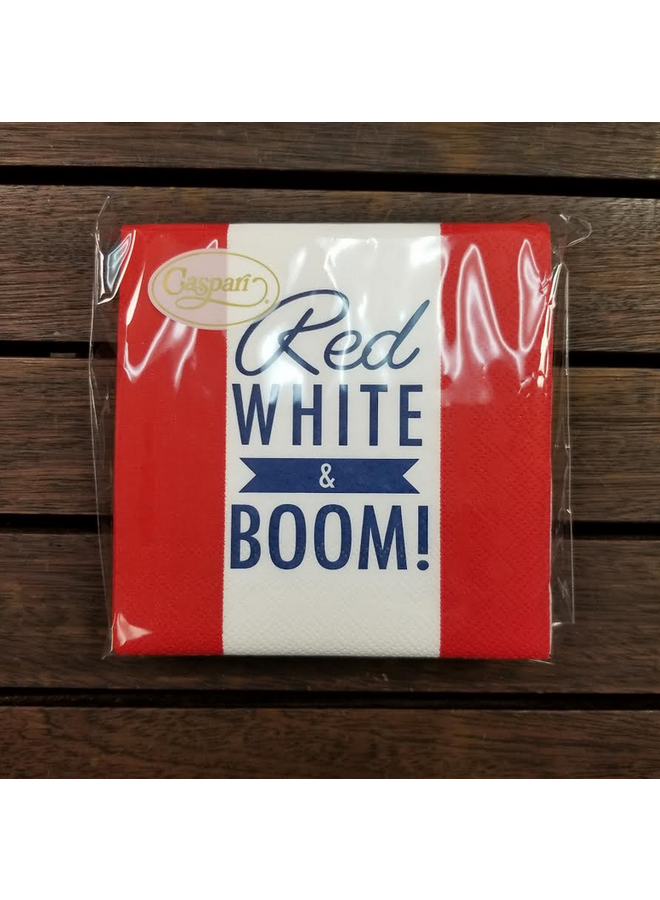 Cocktail Napkin - Red White & Boom - pack of 24