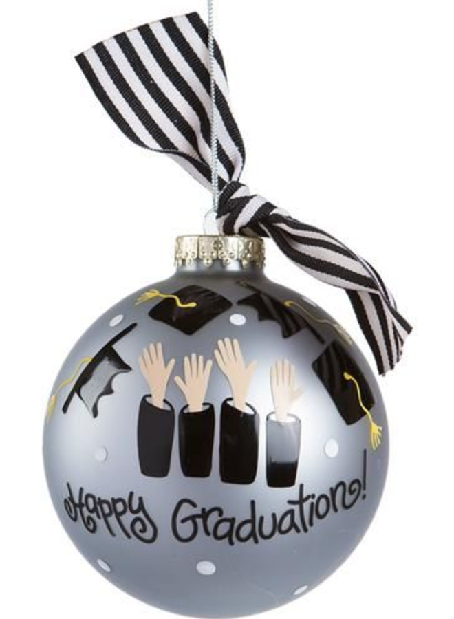 Happy Graduation Silver Glass Ornament