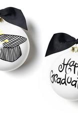 Happy Everything! Happy Graduation White Glass Ornament