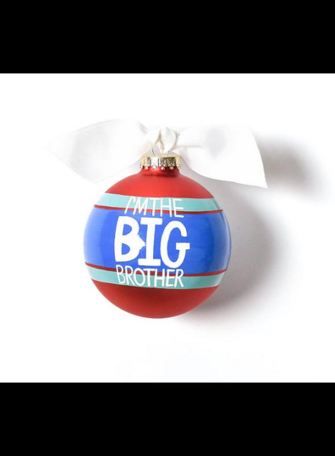 I'm The Big Brother Striped Glass Ornament