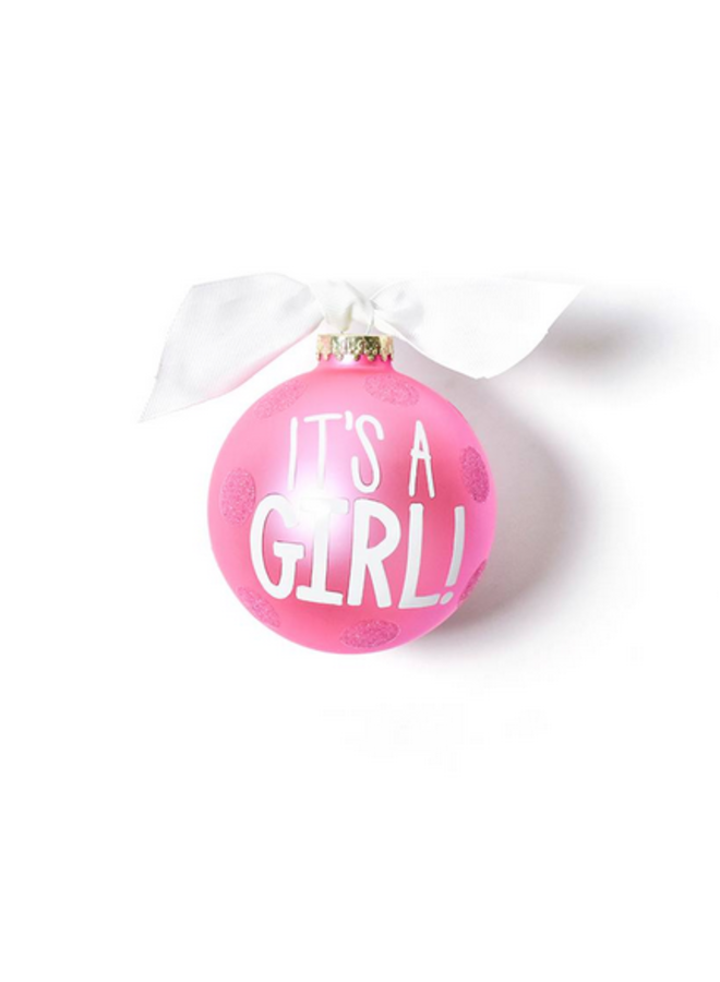 It's A Girl Large Dot Glass Ornament