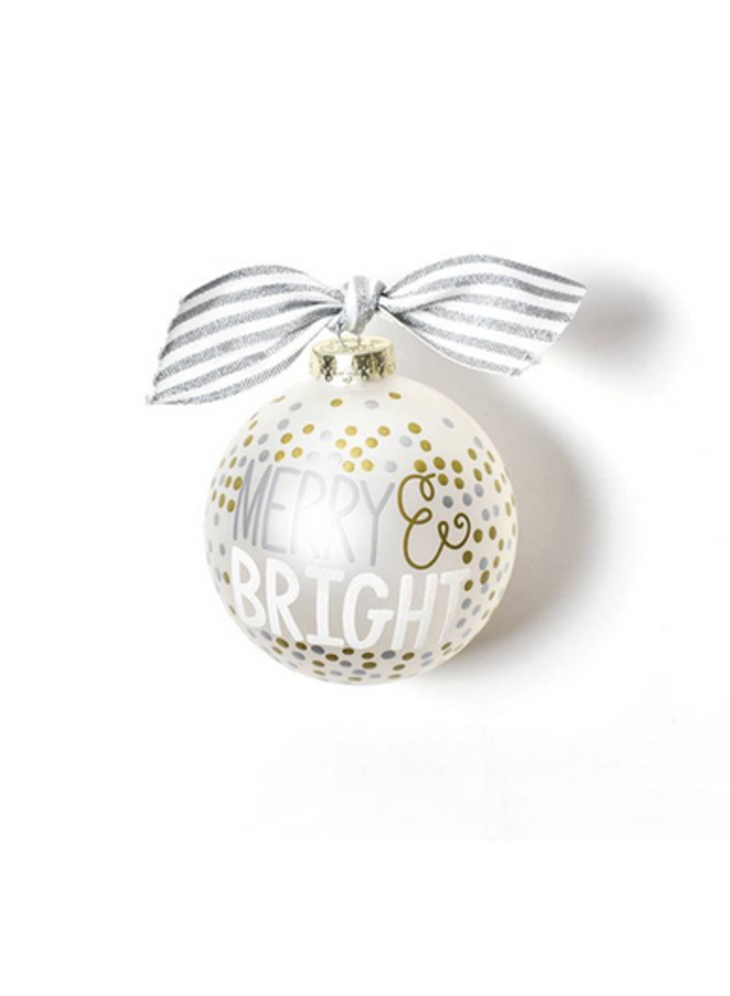 Merry And Bright Metallic Confetti Glass Ornament