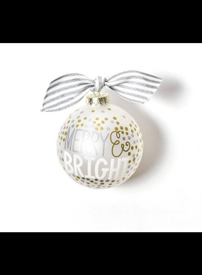 Merry & Bright Metallic Confetti Glass Ornament