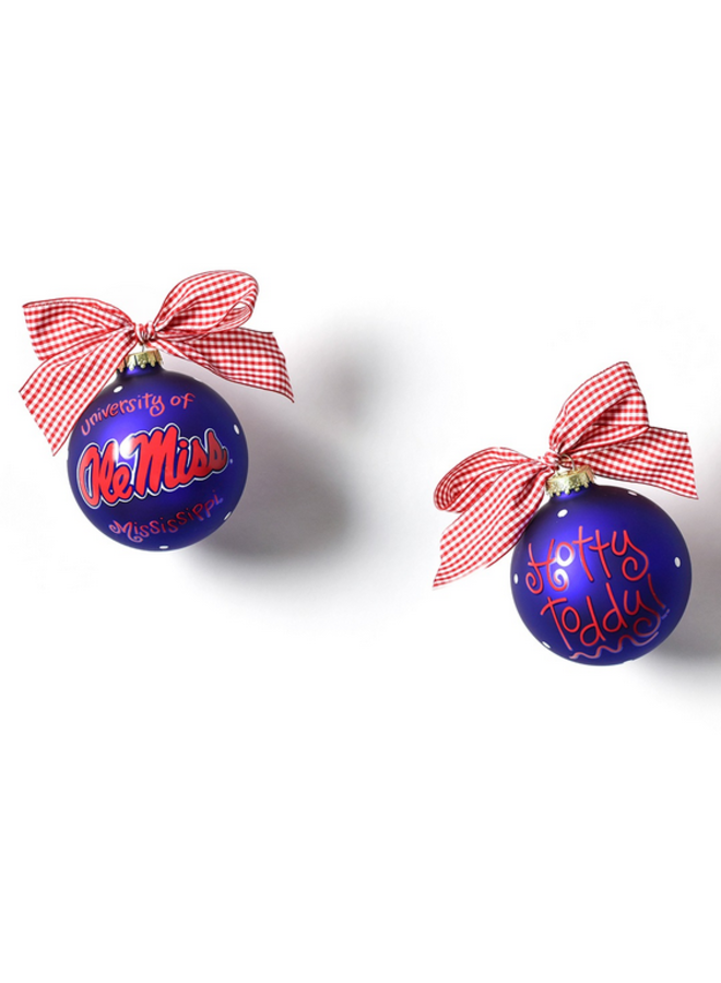 Ole Miss Logo Glass Ornament