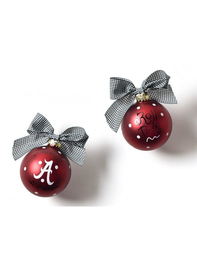 Alabama Logo Glass Ornament