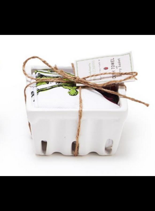 Farm To Table Dishtowel and Fruit Crate Gift Set - Radishing
