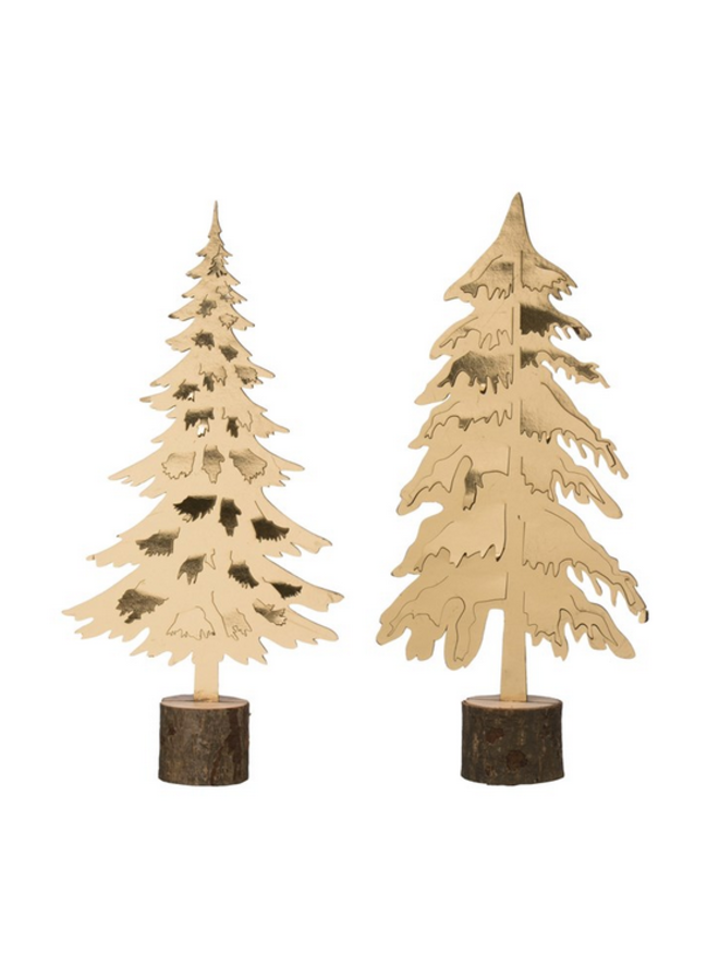 """Gold Tree on Wood Base - 14"""" - assorted"""