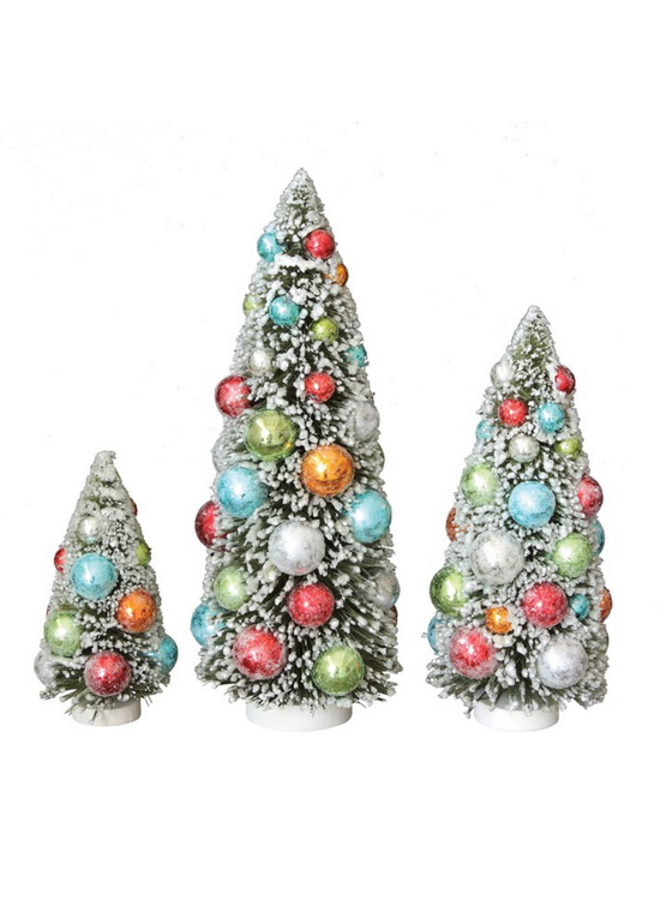 Bottle Brush Tree w/ Balls - 12""