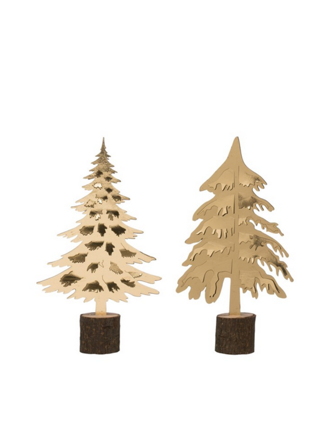 """Gold Tree on Wood Base - 18"""" - assorted"""