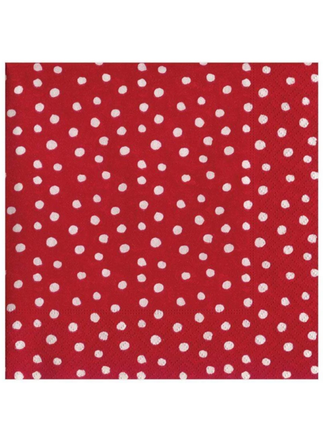 Luncheon Napkin - Small Dots Red