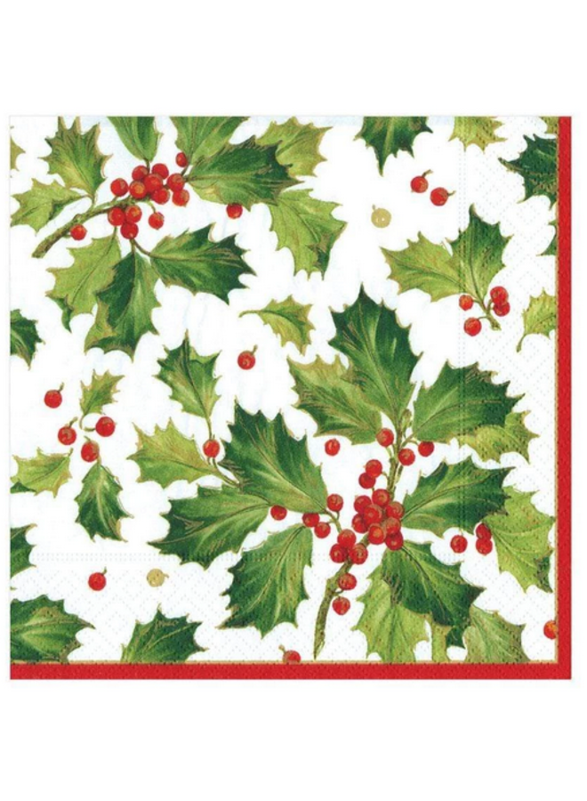 Luncheon Napkin - Gilded Holly White