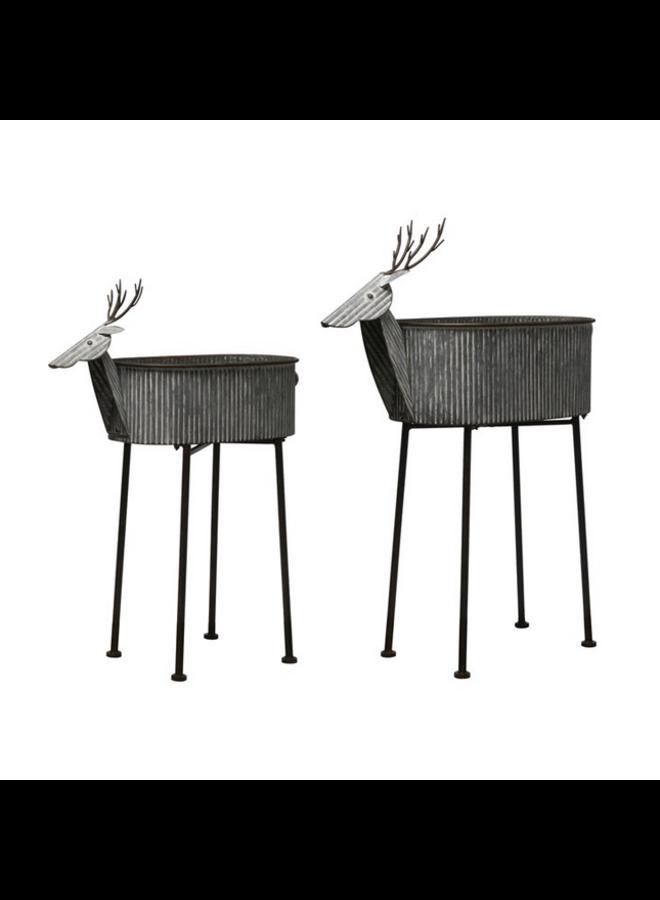 Galvanized Deer Planter w/Legs - Small