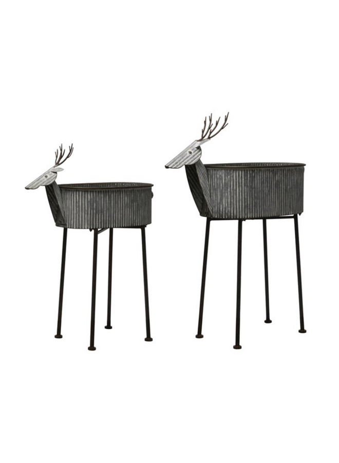 Galvanized Deer Planter w/ Legs - Large