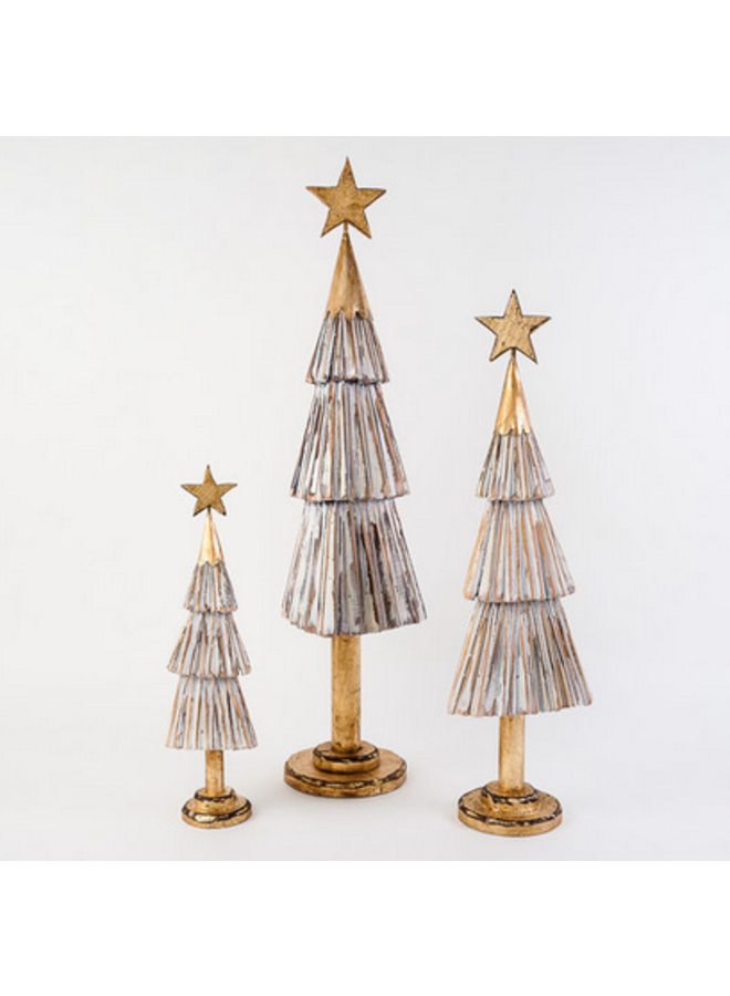 Wood Tree w/ Star - set of 3