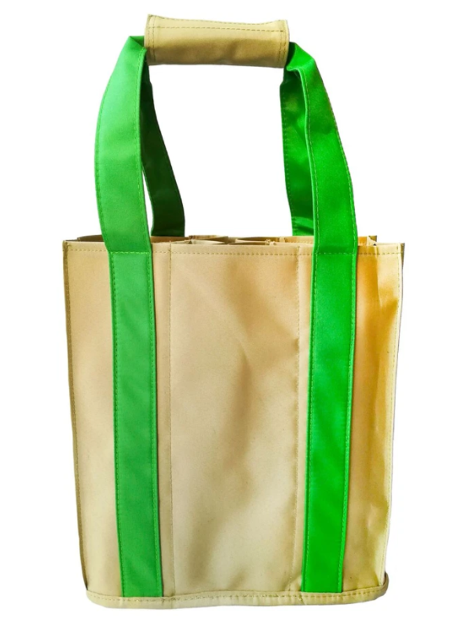 Party To Go Tote - Green & Tan