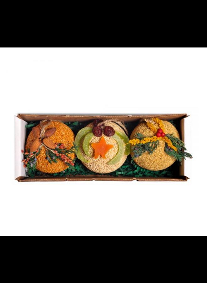 Fruit Ornament Ball Trio