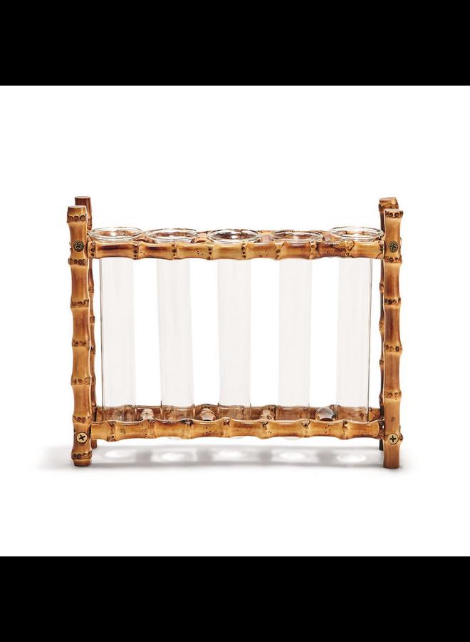 Natural Bamboo Vase w/ 5 Glass Tubes