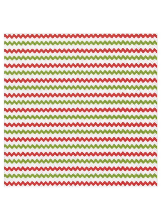 Luncheon Napkin - Rickrack Red & Green