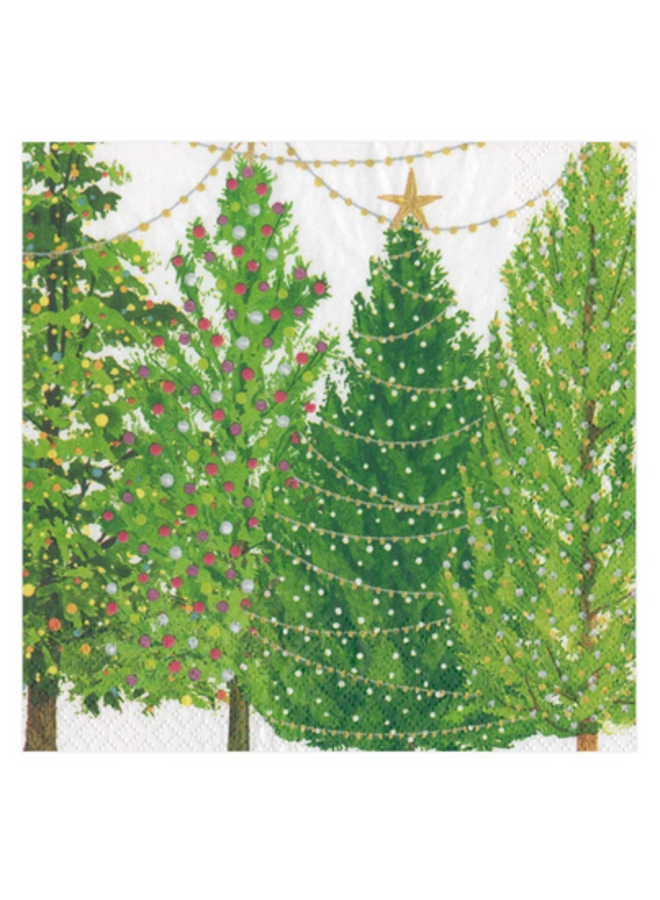 Cocktail Napkin - Christmas Trees with Lights