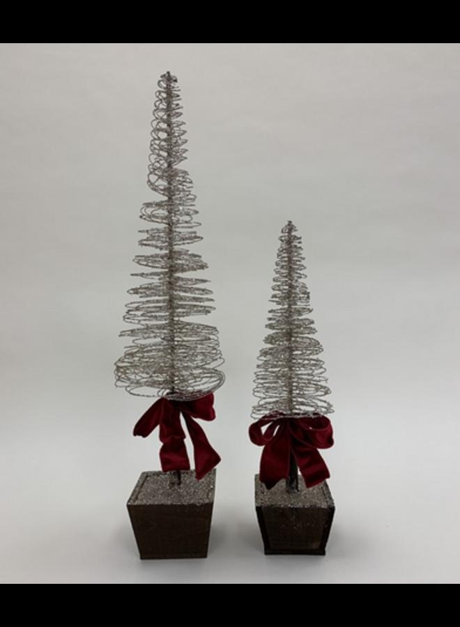 "Wire Cone Tree w/ Bow - 20.5"""