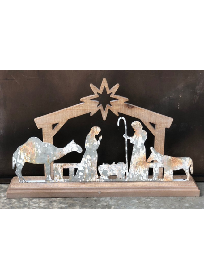 Metal & Wood Nativity w/ Animals