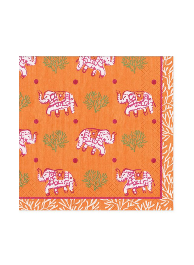 Cocktail Napkin - Batik Elephants Orange