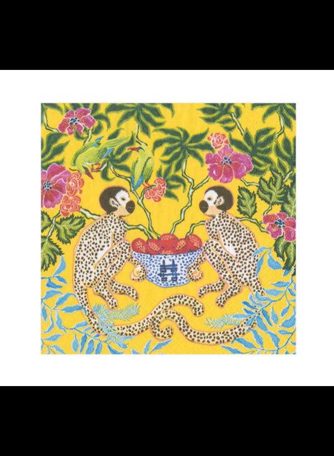 Cocktail Napkin - Monkeys Yellow