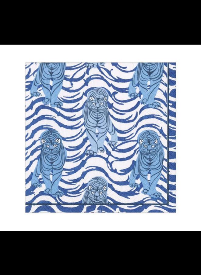 Cocktail Napkin - Tiger Stripe Blue