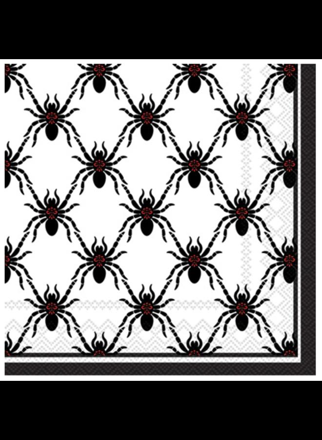 Cocktail Napkin - Black Spiders