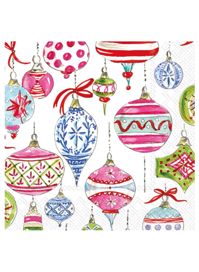Cocktail Napkin - Merry Vintage Ornaments